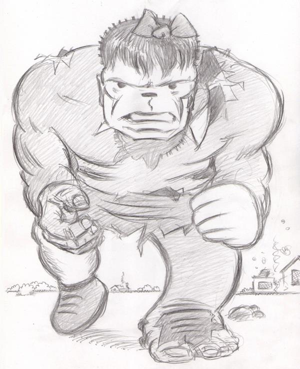 """CARTOON JUMBLE PENCIL - HULK & NANCY"" is copyright ©2008 by Jeremy Eaton.  All rights reserved.  Reproduction prohibited."