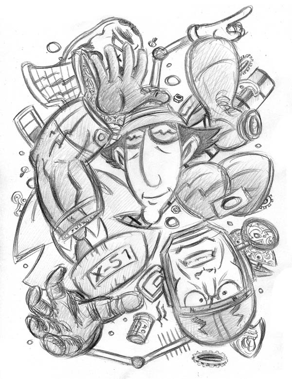 """CARTOON JUMBLE PENCIL - INSPECTOR GADGET & M. MAN"" is copyright ©2008 by Jeremy Eaton.  All rights reserved.  Reproduction prohibited."