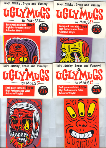 """*UglyMugs stickers assorted 4-PACKS"" is copyright ©2008 by  Mats!?.  All rights reserved.  Reproduction prohibited."