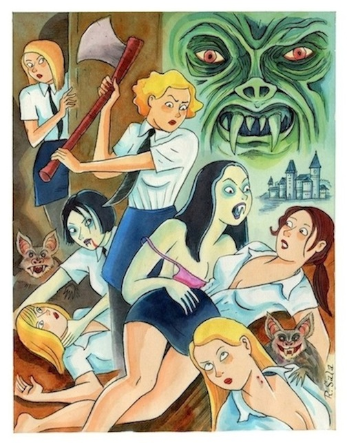 """Weird Mysteries 1: Vampires in a Girls Dormitory"" is copyright ©2008 by Richard Sala.  All rights reserved.  Reproduction prohibited."