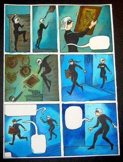 """Cat Burglar Black 92 - Preliminary color rough"" is copyright ©2008 by Richard Sala.  All rights reserved.  Reproduction prohibited."