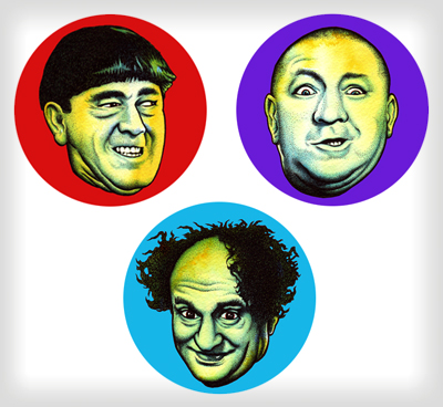"""3 Stooges buttons"" is copyright ©2008 by J.R. Williams.  All rights reserved.  Reproduction prohibited."