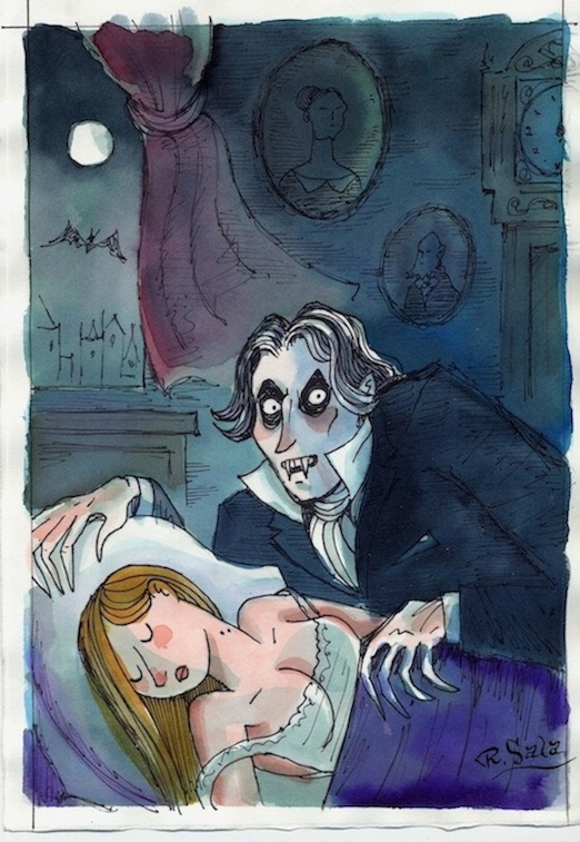 """Shadow of Dracula - COLOR SKETCH"" is copyright ©2008 by Richard Sala.  All rights reserved.  Reproduction prohibited."
