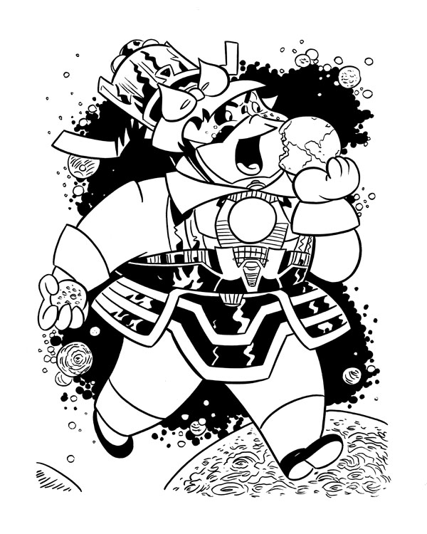 """CARTOON JUMBLE INK ART, LITTLE LOTTA & GALACTUS"" is copyright ©2008 by Jeremy Eaton.  All rights reserved.  Reproduction prohibited."