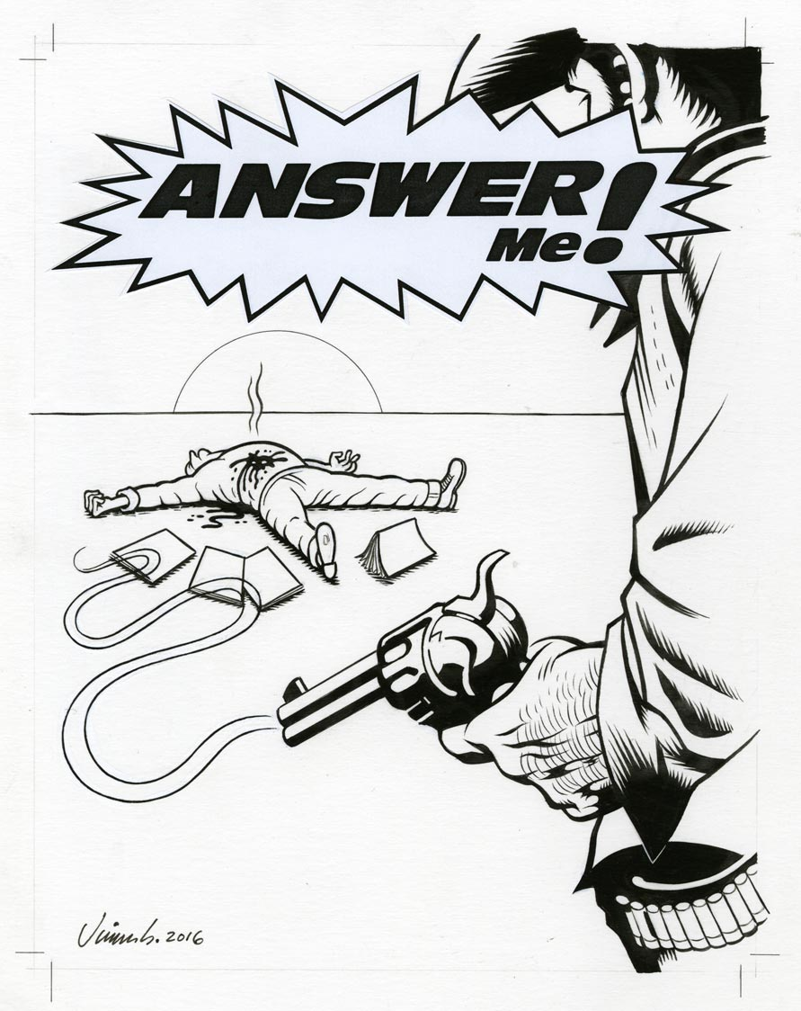 """ANSWER ME! ANTHOLOGY COVER"" is copyright ©2008 by Jim Blanchard.  All rights reserved.  Reproduction prohibited."