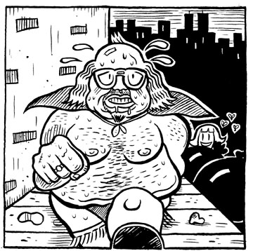 """Fat Superhero Guy"" is copyright ©2008 by Kevin Scalzo.  All rights reserved.  Reproduction prohibited."