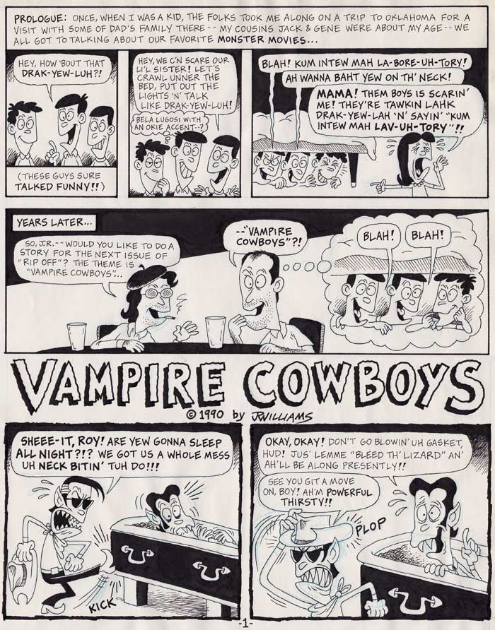 """VAMPIRE COWBOYS - Page 1"" is copyright ©2008 by J.R. Williams.  All rights reserved.  Reproduction prohibited."