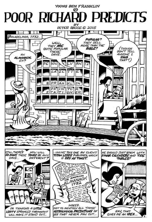 """Poor Rchard Predicts pg. 1"" is copyright ©2008 by Peter Bagge.  All rights reserved.  Reproduction prohibited."