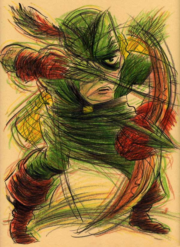 """IMPRESSIONISTIC GOLDEN AGE GREEN ARROW"" is copyright ©2008 by Jeremy Eaton.  All rights reserved.  Reproduction prohibited."