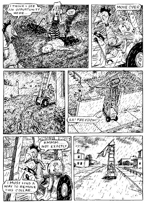 """Fuzz & Pluck chapter 4, page 9"" is copyright ©2008 by Ted Stearn.  All rights reserved.  Reproduction prohibited."
