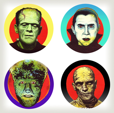 """Universal Monsters buttons"" is copyright ©2008 by J.R. Williams.  All rights reserved.  Reproduction prohibited."