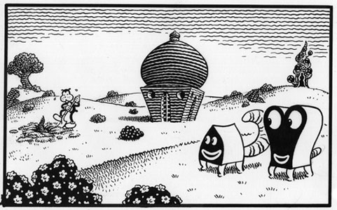 """PANEL from THE LUTE STRING #1"" is copyright ©2008 by Jim Woodring.  All rights reserved.  Reproduction prohibited."