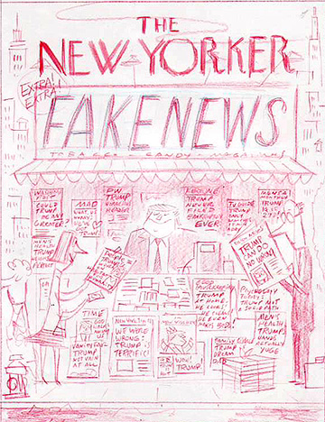 """The New Yorker - Fake News Rejected Cover Sketch"" is copyright ©2008 by Bob Staake.  All rights reserved.  Reproduction prohibited."