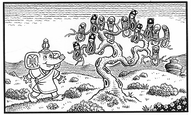 """LUTE STRING p. 28 panel 1"" is copyright ©2008 by Jim Woodring.  All rights reserved.  Reproduction prohibited."