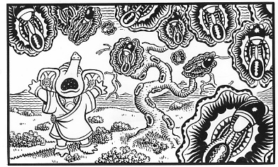 """LUTE STRING p. 28 panel 2"" is copyright ©2008 by Jim Woodring.  All rights reserved.  Reproduction prohibited."