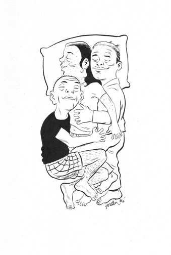 """NEW YORK PRESS Cuddle Party Illustration"" is copyright ©2008 by Robert Goodin.  All rights reserved.  Reproduction prohibited."