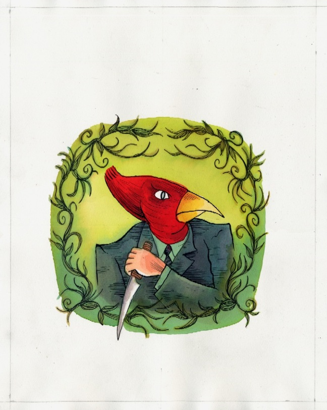 """The Bloody Cardinal - Portrait for Title Page"" is copyright ©2008 by Richard Sala.  All rights reserved.  Reproduction prohibited."