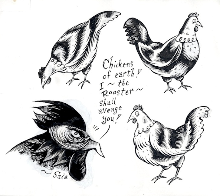 """The Rooster - Chickens of earth"" is copyright ©2008 by Richard Sala.  All rights reserved.  Reproduction prohibited."