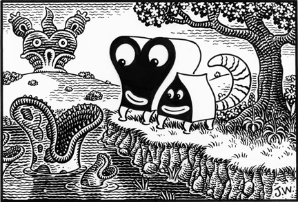 """PUPS BY THE RIVER"" is copyright ©2008 by Jim Woodring.  All rights reserved.  Reproduction prohibited."