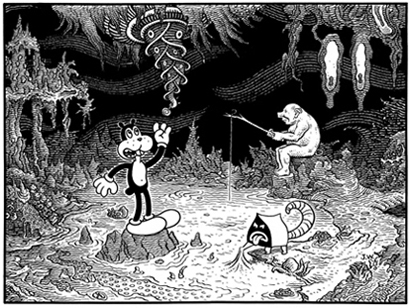 """IDYL"" is copyright ©2008 by Jim Woodring.  All rights reserved.  Reproduction prohibited."