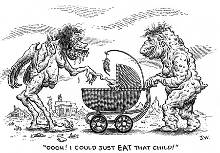 """I COULD JUST EAT THAT CHILD!"" is copyright ©2008 by Jim Woodring.  All rights reserved.  Reproduction prohibited."