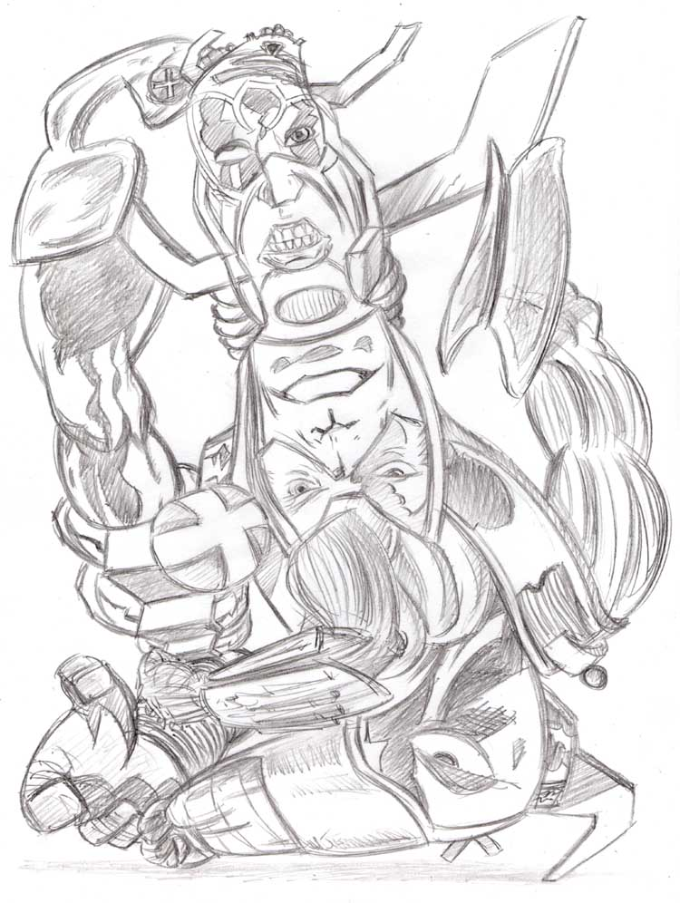 """CARTOON JUMBLE PENCIL - GALACTUS & X-O MANOWAR"" is copyright ©2008 by Jeremy Eaton.  All rights reserved.  Reproduction prohibited."