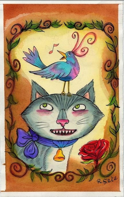 """Cat and Bird Watercolor"" is copyright ©2008 by Richard Sala.  All rights reserved.  Reproduction prohibited."