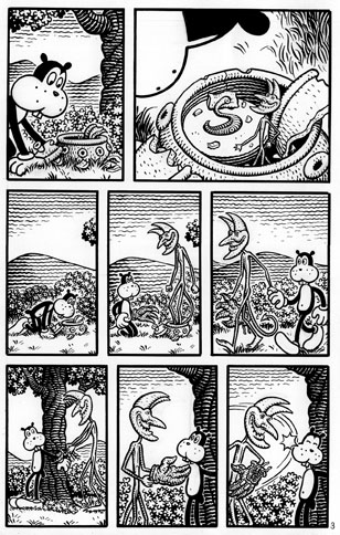 """FRANK AND HOW IT GOT THERE p. 3"" is copyright ©2008 by Jim Woodring.  All rights reserved.  Reproduction prohibited."