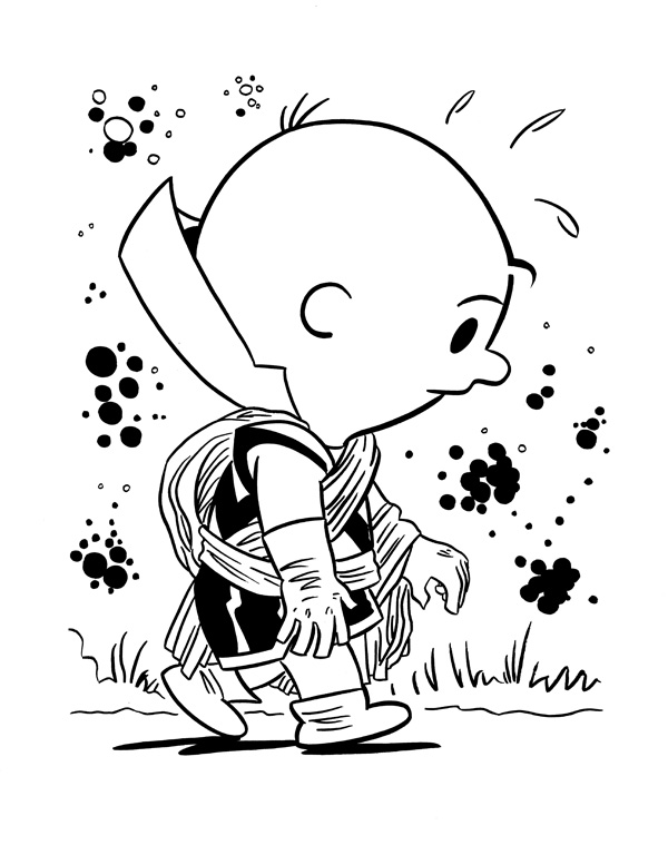"""CARTOON JUMBLE INK ART, CHARLIE BROWN & WATCHER"" is copyright ©2008 by Jeremy Eaton.  All rights reserved.  Reproduction prohibited."