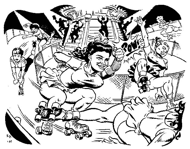 """Roller Derby illo"" is copyright ©2008 by Rick Altergott.  All rights reserved.  Reproduction prohibited."