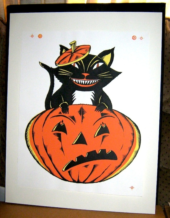 """HALLOWEEN Silkscreen #1 Black Cat"" is copyright ©2008 by Richard Sala.  All rights reserved.  Reproduction prohibited."