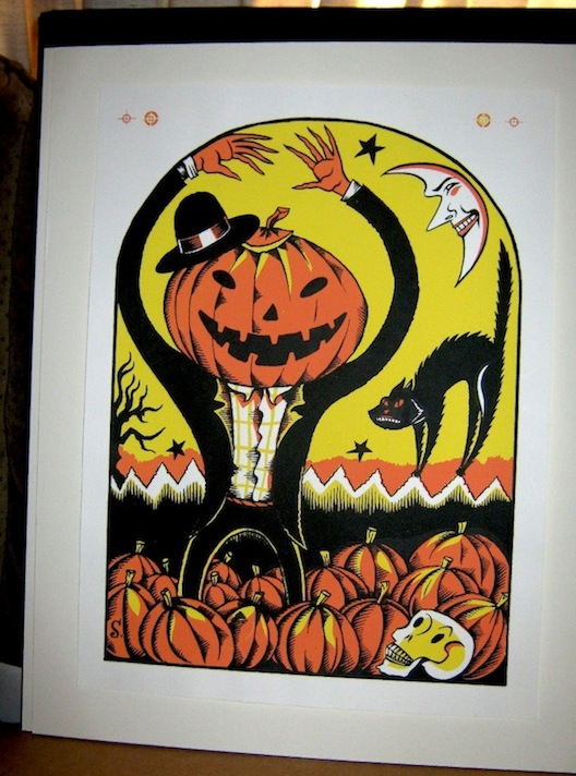 """HALLOWEEN Silkscreen #2 Jack-O-Lantern Rising"" is copyright ©2008 by Richard Sala.  All rights reserved.  Reproduction prohibited."