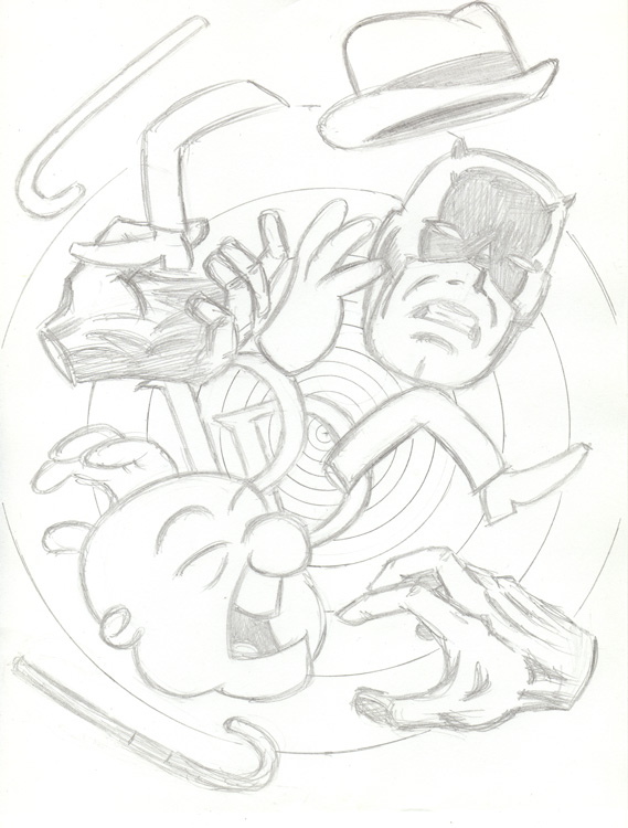 """CARTOON JUMBLE PENCIL  -DAREDEVIL & MR. MAGOO"" is copyright ©2008 by Jeremy Eaton.  All rights reserved.  Reproduction prohibited."
