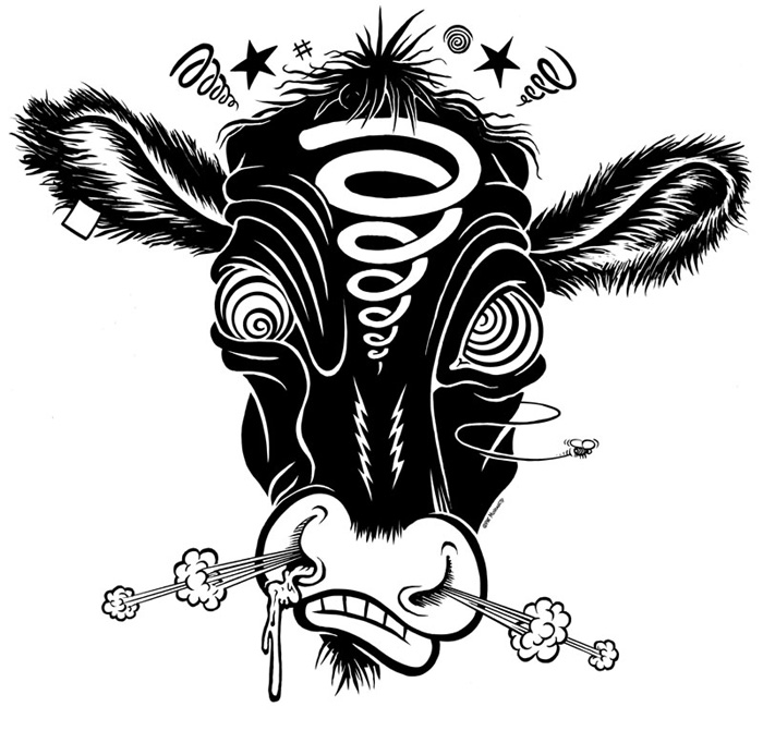 """Crackpot Cow"" is copyright ©2008 by Pat Moriarity.  All rights reserved.  Reproduction prohibited."