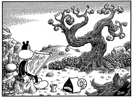 """FRANK DRAWS THE TREE"" is copyright ©2008 by Jim Woodring.  All rights reserved.  Reproduction prohibited."