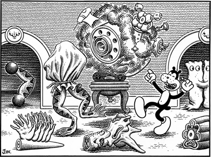 """FRANK GETS THE JOKE"" is copyright ©2008 by Jim Woodring.  All rights reserved.  Reproduction prohibited."