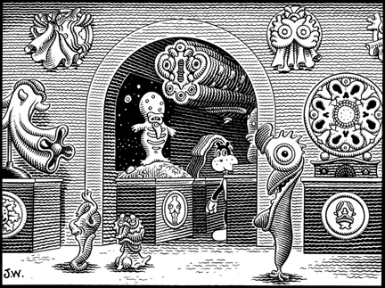 """FRANK LOOKS FOR THE EXIT"" is copyright ©2008 by Jim Woodring.  All rights reserved.  Reproduction prohibited."