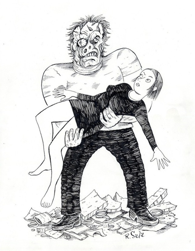 """Peculia Meets Teenage Frankenstein"" is copyright ©2008 by Richard Sala.  All rights reserved.  Reproduction prohibited."