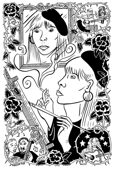 """Joni Mitchell illustration"" is copyright ©2008 by Mary Fleener.  All rights reserved.  Reproduction prohibited."