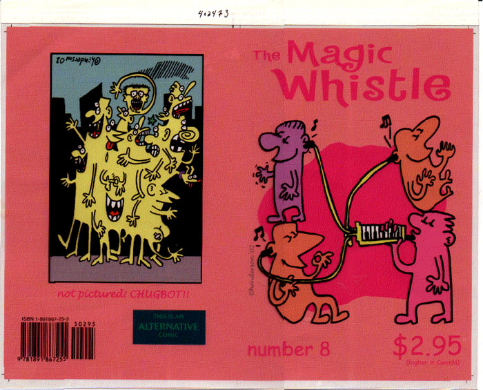 """MAGIC WHISTLE 8 cover proof"" is copyright ©2008 by Sam Henderson.  All rights reserved.  Reproduction prohibited."