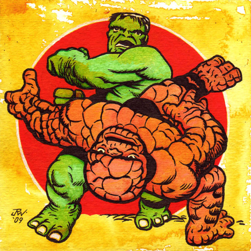"""Hulk Vs. Thing"" is copyright ©2008 by J.R. Williams.  All rights reserved.  Reproduction prohibited."