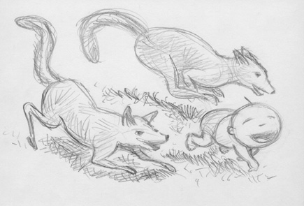 """BABY BOY AND WOLVES SKETCH"" is copyright ©2008 by Jeremy Eaton.  All rights reserved.  Reproduction prohibited."