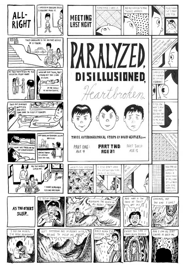 """Paralyzed, Disillusioned, Heartbroken - Ouch comic"" is copyright ©2008 by David Heatley.  All rights reserved.  Reproduction prohibited."