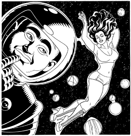"""New Yorker 'Space' illustration"" is copyright ©2008 by Jaime Hernandez.  All rights reserved.  Reproduction prohibited."