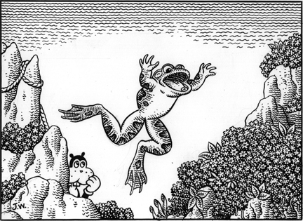 """JUMPER"" is copyright ©2008 by Jim Woodring.  All rights reserved.  Reproduction prohibited."