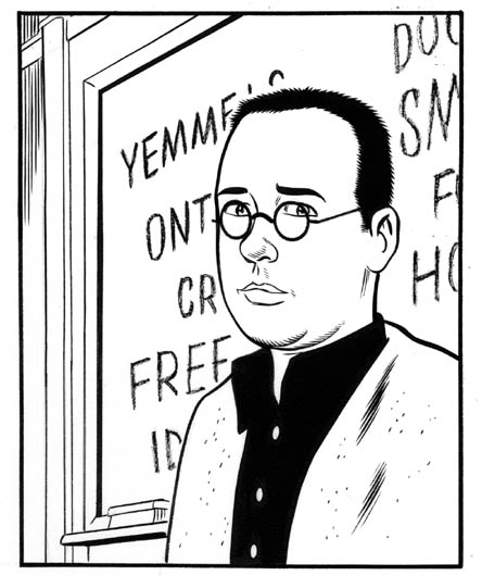 """Fast Company:  Portrait of Fricke"" is copyright ©2008 by Daniel Clowes.  All rights reserved.  Reproduction prohibited."