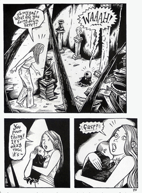 """Peculia and the Groon Grove Vampires - page 49"" is copyright ©2008 by Richard Sala.  All rights reserved.  Reproduction prohibited."