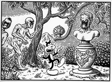 """Frank Among the Faithful"" is copyright ©2008 by Jim Woodring.  All rights reserved.  Reproduction prohibited."