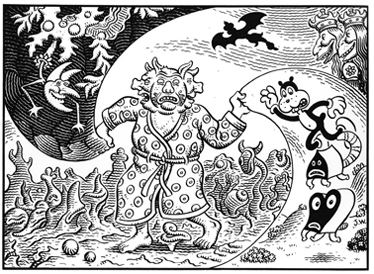 """Manhog in Three Worlds"" is copyright ©2008 by Jim Woodring.  All rights reserved.  Reproduction prohibited."