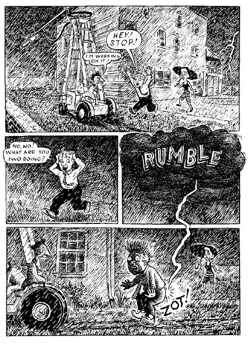 """Fuzz & Pluck chapter 4, page 8"" is copyright ©2008 by Ted Stearn.  All rights reserved.  Reproduction prohibited."